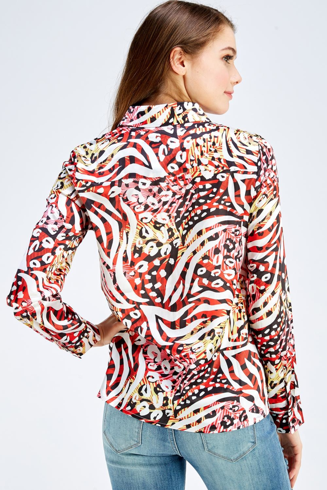 Reveuse Leopard Print Blouse - Back Cropped Image