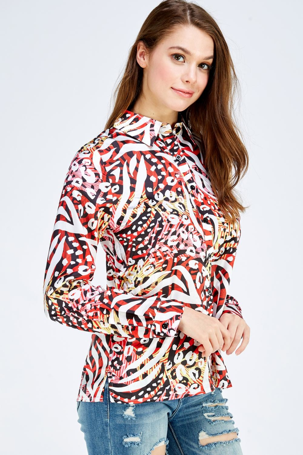 Reveuse Leopard Print Blouse - Side Cropped Image
