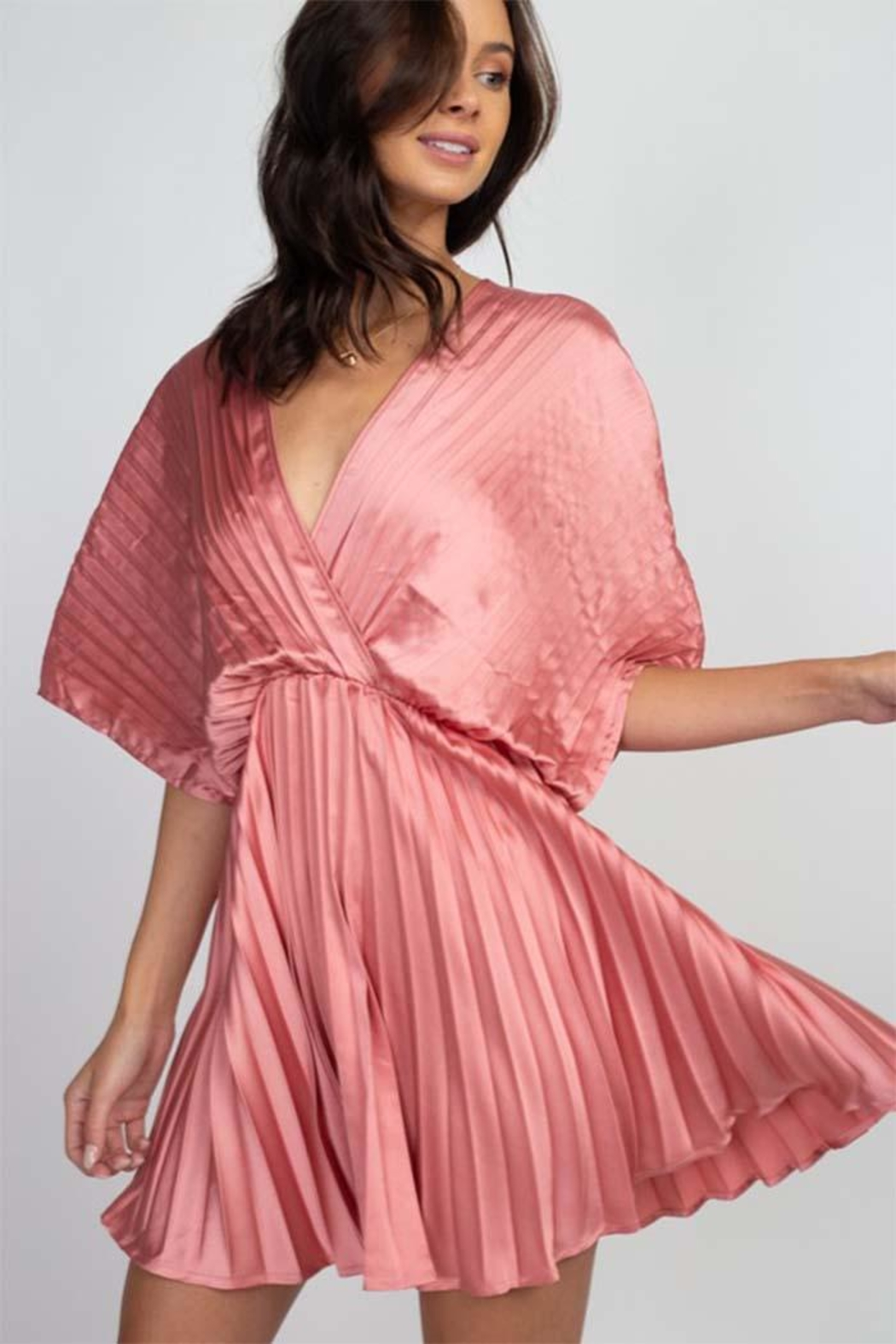 Reveuse Pink Pleated Dress - Front Full Image