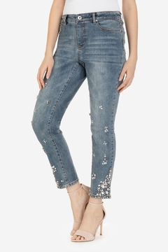 Tribal Rhinestone Flower Jeans - Product List Image