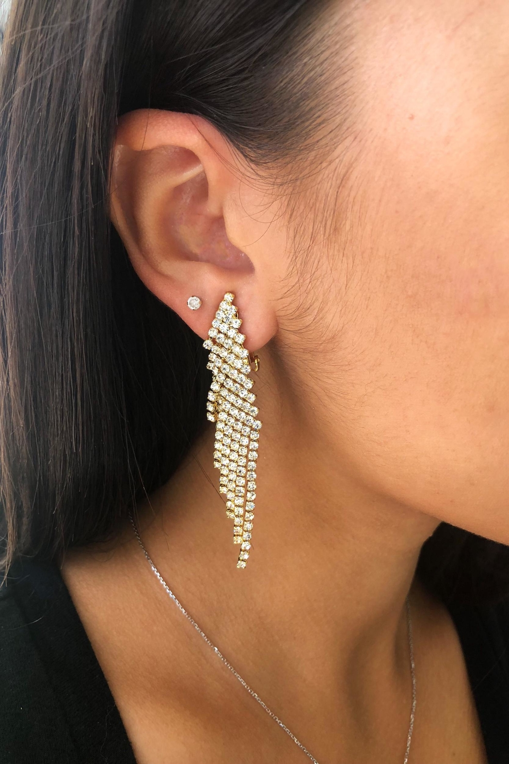 Lets Accessorize Rhinestone Fringe Clip-Ons - Front Full Image