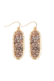 Riah Fashion Rhinestone-Glittered-Faceted Oval-Drop Earrings - Product Mini Image