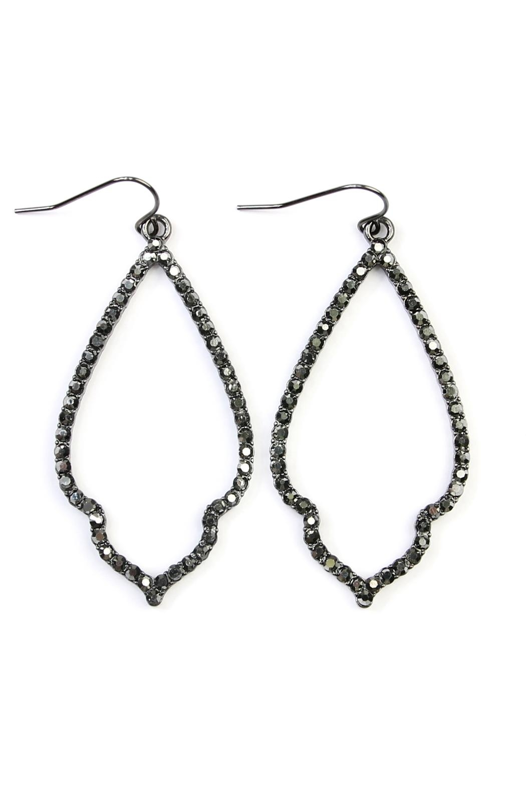 Riah Fashion Rhinestone Moroccan Earrings - Front Cropped Image