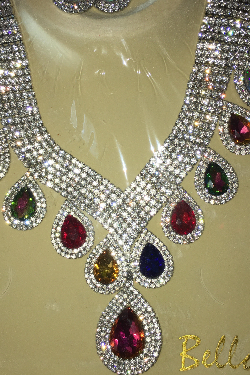 Bella  Rhinestone Sparkling Necklace with Matching Hanging Teardrop Earrings - Front Cropped Image