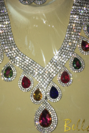 Bella  Rhinestone Sparkling Necklace with Matching Hanging Teardrop Earrings - Front cropped