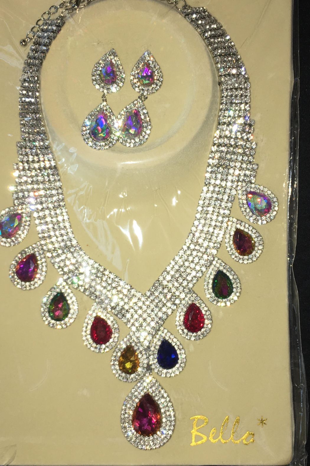Bella  Rhinestone Sparkling Necklace with Matching Hanging Teardrop Earrings - Main Image