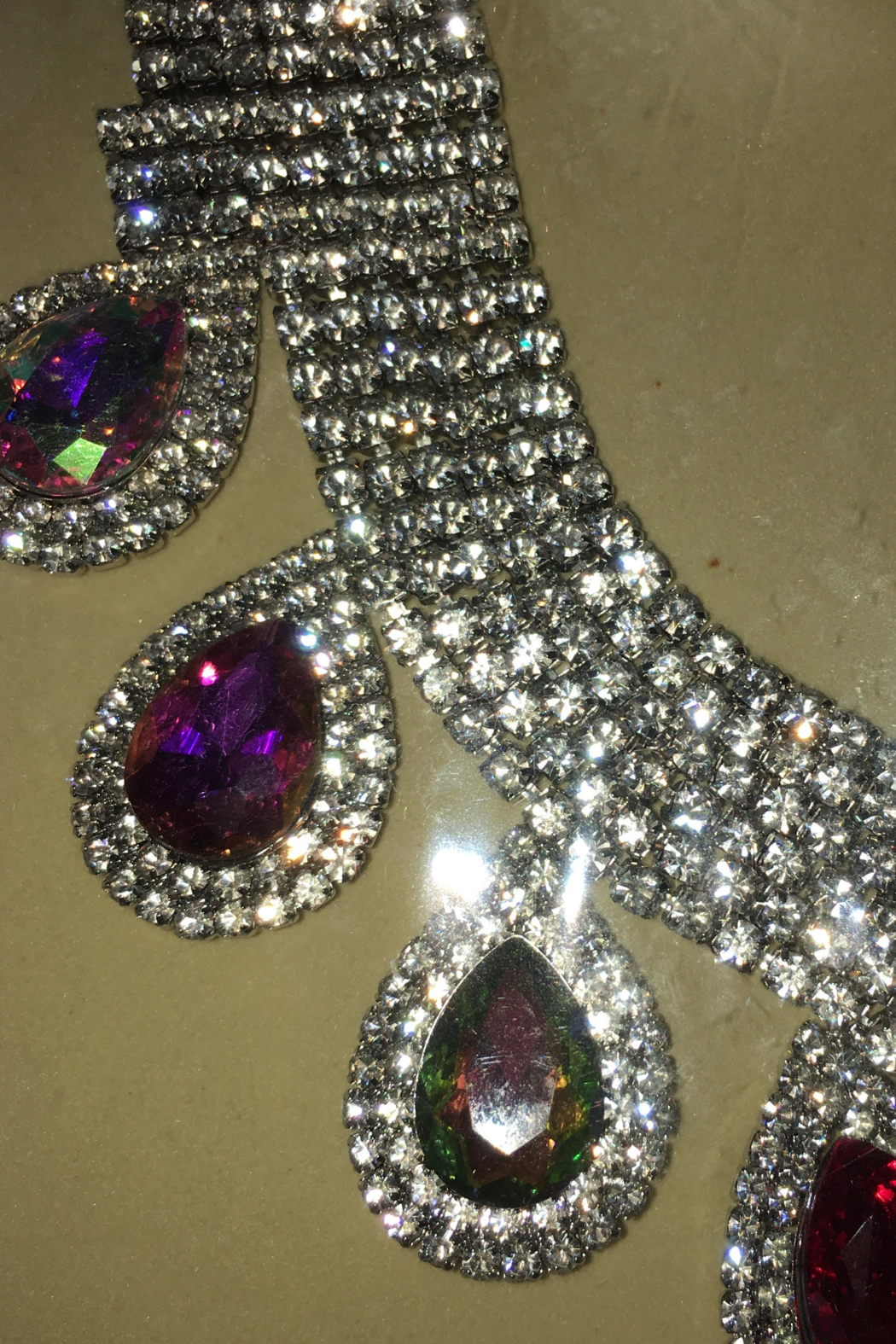 Bella  Rhinestone Sparkling Necklace with Matching Hanging Teardrop Earrings - Front Full Image