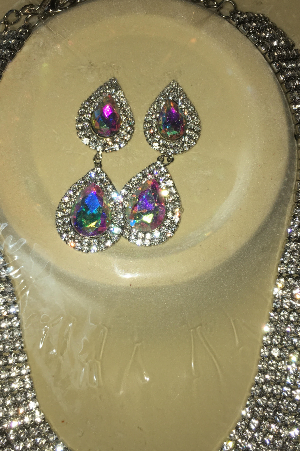 Bella  Rhinestone Sparkling Necklace with Matching Hanging Teardrop Earrings - Side Cropped Image
