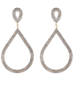 US Jewelry House Rhinestone Teardrop Hoop Statement Earrings - Alternate List Image