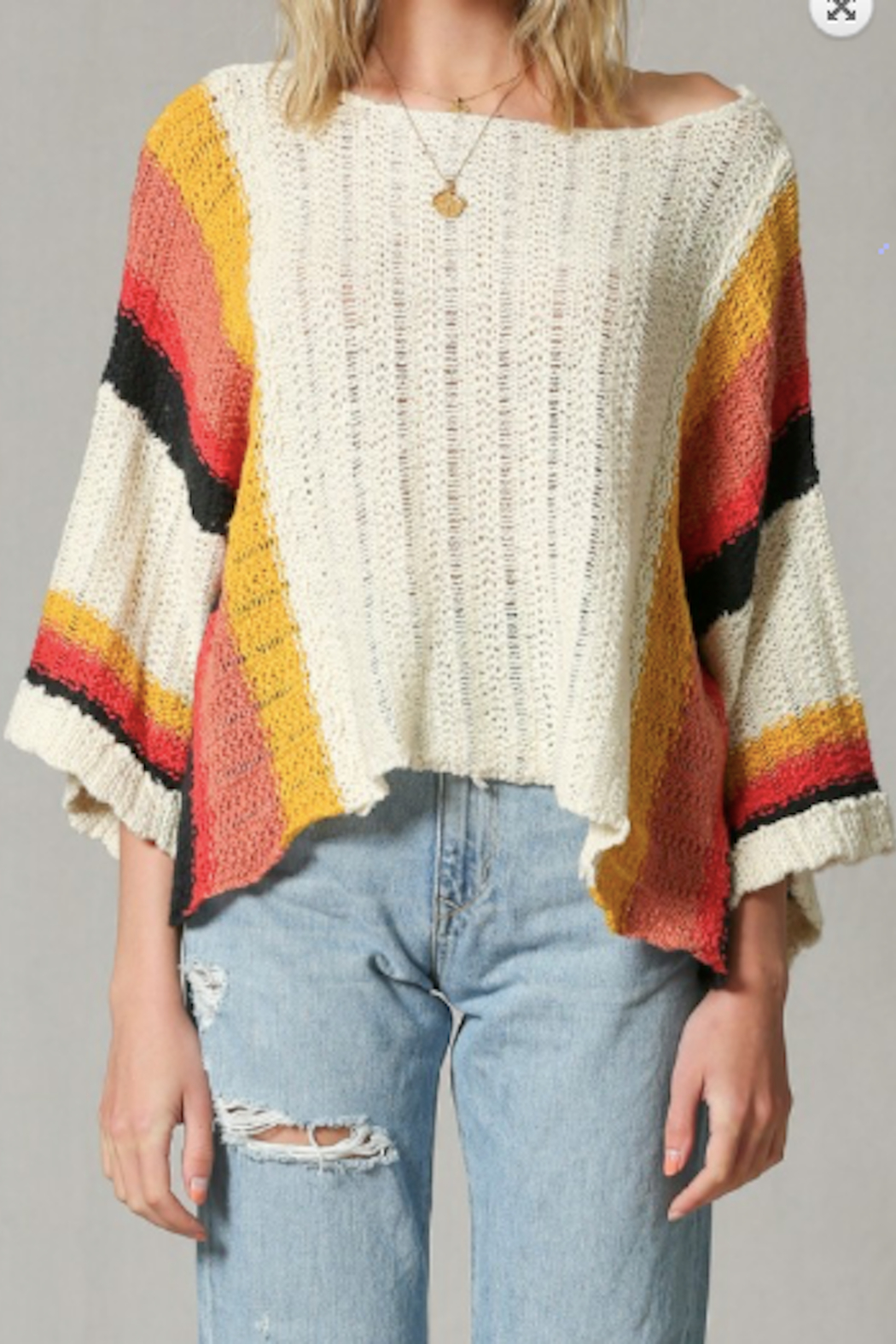 By Together Rhodes Crop Sleeve Sweater - Main Image