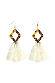 Riah Fashion Rhombus-Resin With-Three-Dangling Tassel-Earrings - Product Mini Image