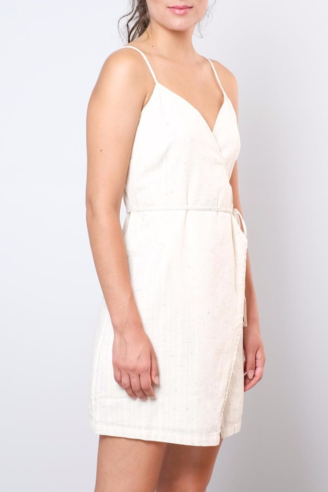 Rhythm  Fitted Wrap Dress - Back Cropped Image