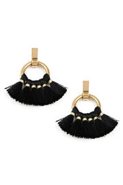 Riah Fashion 1.5-Inch-Metal Hoop-With-Short Tassel-Post-Earrings - Product Mini Image