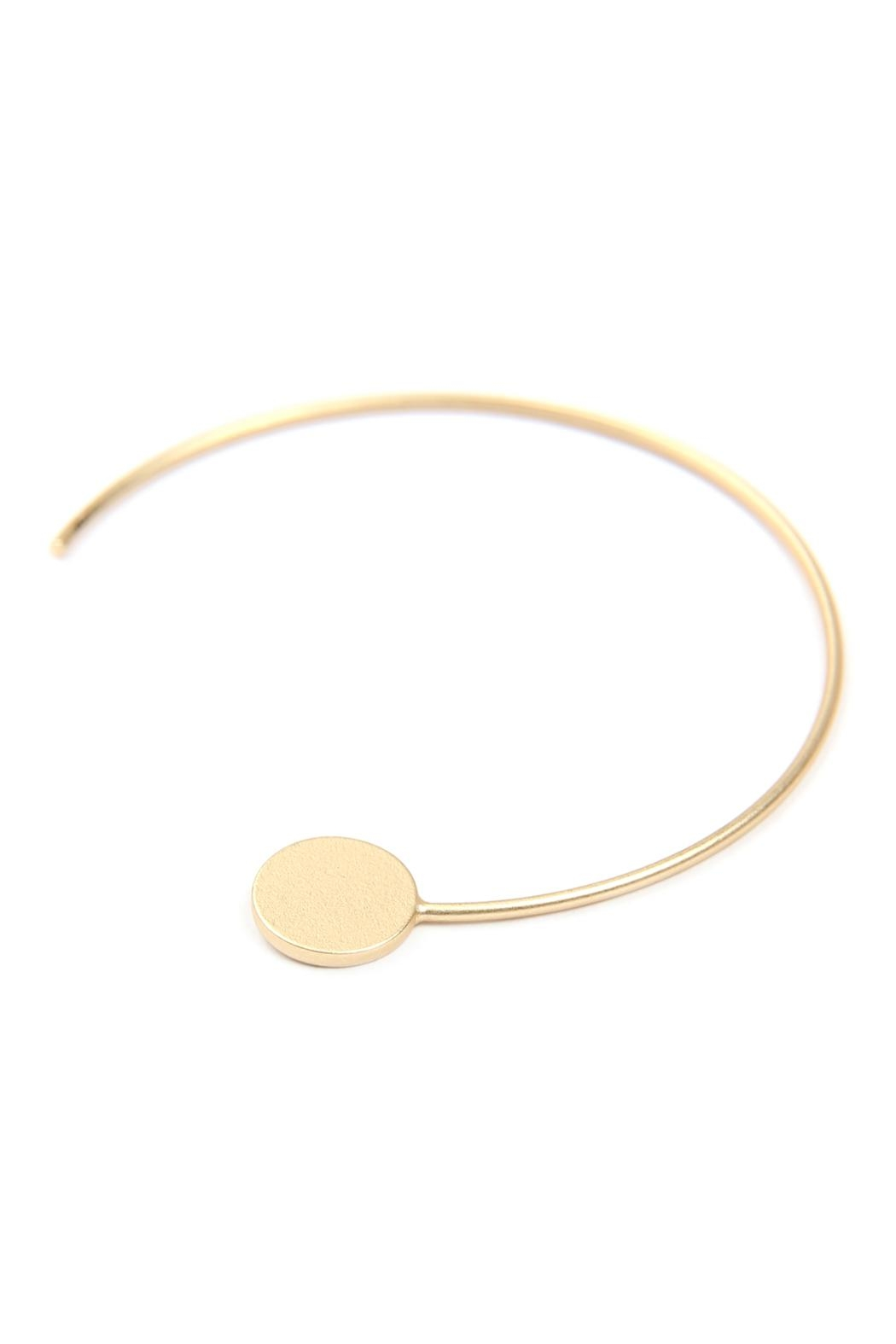 Riah Fashion 1.5-Inch-Wired 'C' Hoop-With-Disc-Earrings - Side Cropped Image