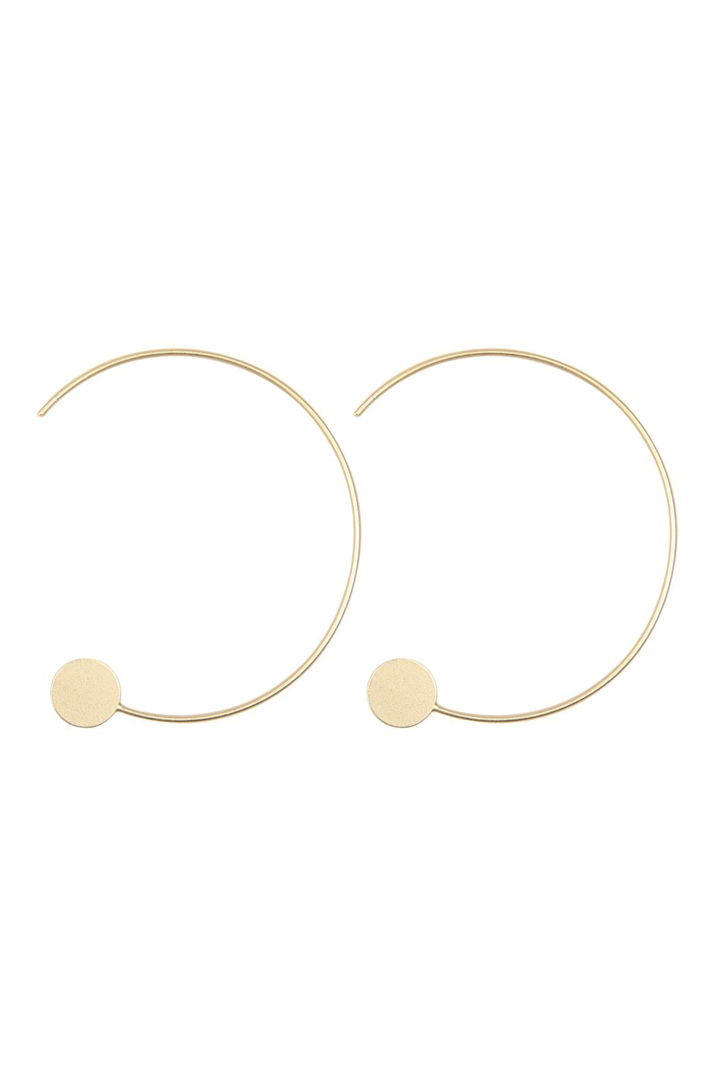 Riah Fashion 1.5-Inch-Wired 'C' Hoop-With-Disc-Earrings - Front Cropped Image