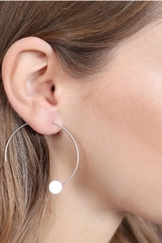 Riah Fashion 1.5-Inch-Wired 'C' Hoop-With-Disc-Earrings - Front full body