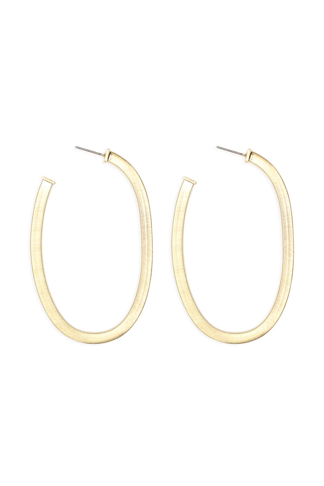 Riah Fashion 1.75 Inch-'U'-Pipe-Satin Finish-Hoop-Earrings - Front Cropped Image