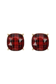 Riah Fashion 12mm Plaid-Pattern Cushion-Post-Earrings - Product Mini Image