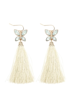 """Shoptiques Product: 2.25""""-Beaded-Butterfly-With-Tassel-Hook-Earrings"""