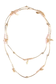 Riah Fashion 2-In-1 Leaf Multi-Beaded-Necklace - Front full body