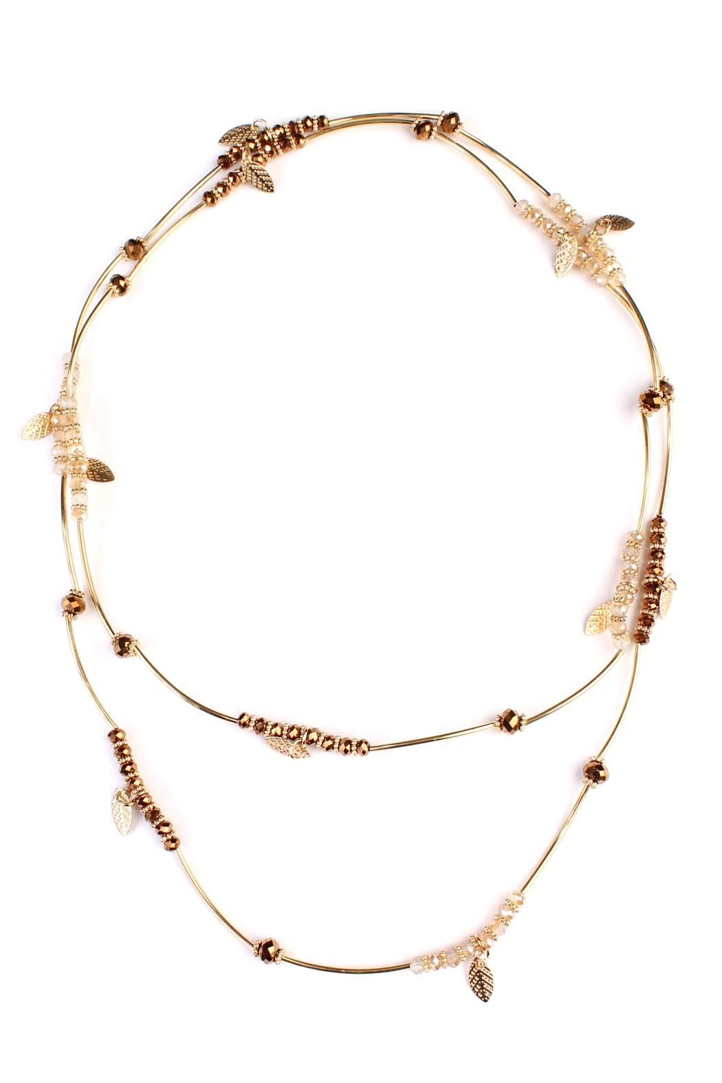 Riah Fashion 2-In-1 Leaf Multi-Beaded-Necklace - Front Full Image
