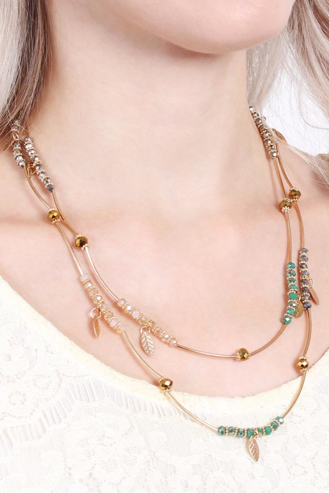 Riah Fashion 2-In-1 Leaf Multi-Beaded-Necklace - Back Cropped Image