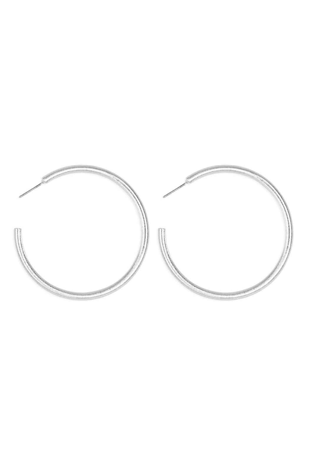Riah Fashion 2-Inch-'C'-Pipe Satin Finish-Hoop-Earrings - Front Cropped Image