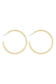 Riah Fashion 2-Inch-'C'-Pipe Satin Finish-Hoop-Earrings - Front cropped