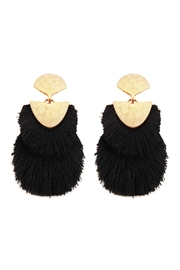 Riah Fashion 2 Layer Fringed-Thread-Drop-Earrings - Front cropped