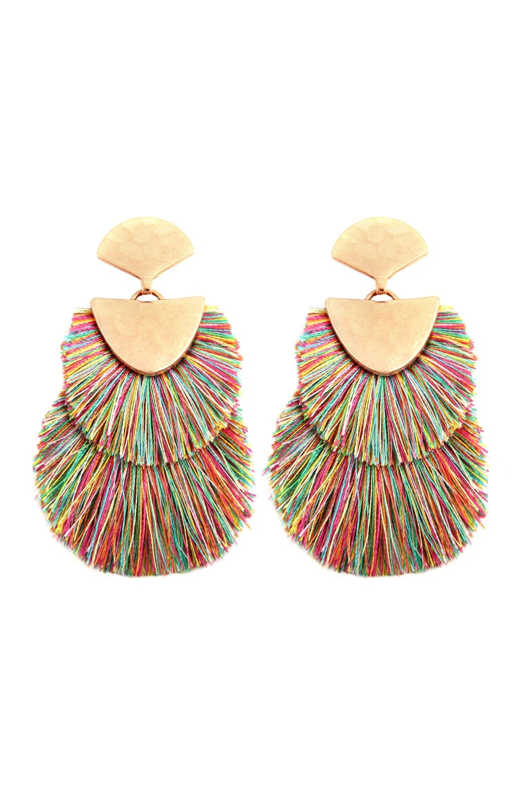 Riah Fashion 2 Layer Fringed-Thread-Drop-Earrings - Front Cropped Image