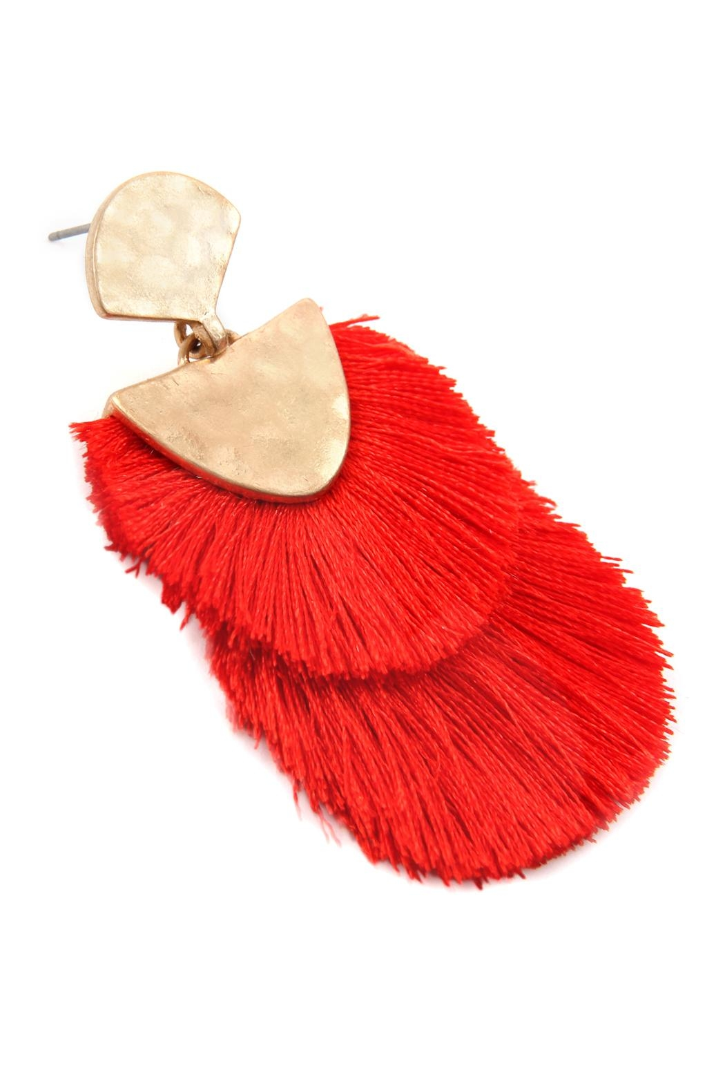 Riah Fashion 2 Layer Fringed-Thread-Drop-Earrings - Front Full Image