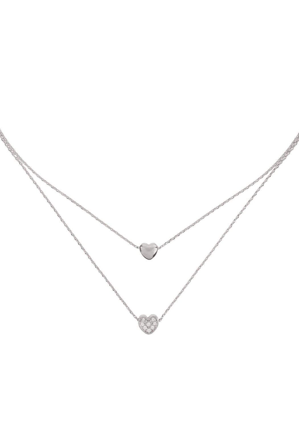 Riah Fashion 2 Layered Pave Cubic Heart Necklace - Front Cropped Image