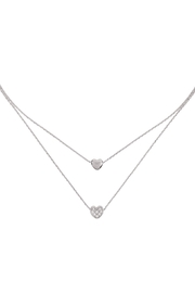 Riah Fashion 2 Layered Pave Cubic Heart Necklace - Front cropped