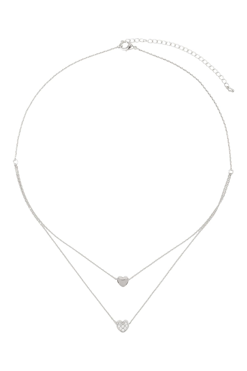 Riah Fashion 2 Layered Pave Cubic Heart Necklace - Front Full Image
