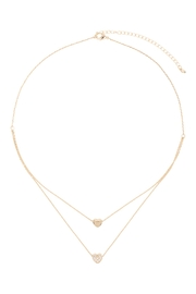 Riah Fashion 2 Layered Pave Cubic Heart Necklace - Front full body