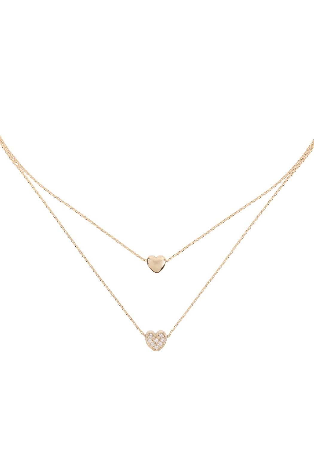 Riah Fashion 2 Layered Pave Cubic Heart Necklace - Main Image