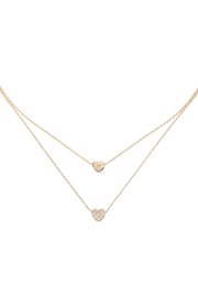 Riah Fashion 2 Layered Pave Cubic Heart Necklace - Product Mini Image