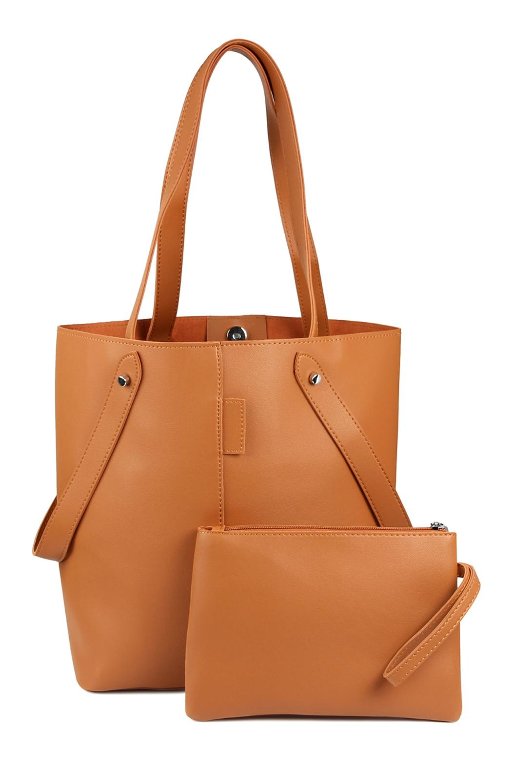 Riah Fashion 2 Way Strap Handle Tote Leather Bag With Pouch Set - Main Image