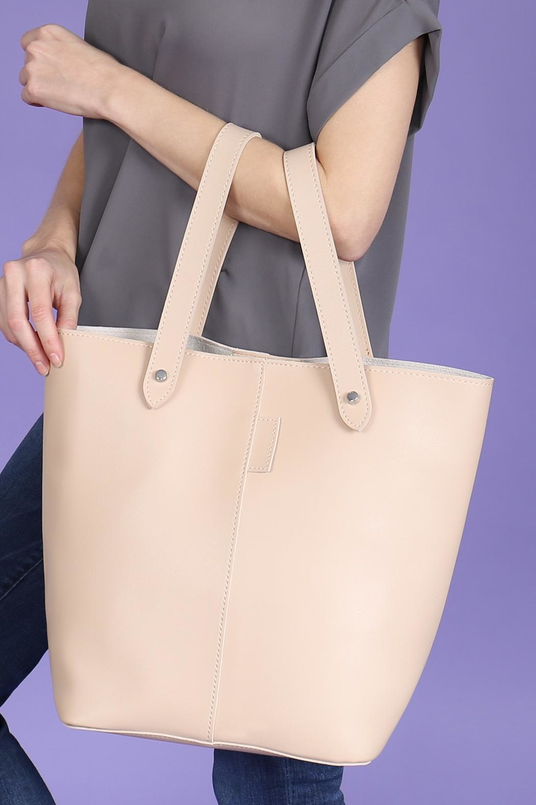 Riah Fashion 2 Way Strap Handle Tote Leather Bag With Pouch Set - Back Cropped Image