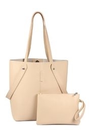 Riah Fashion 2 Way Strap Handle Tote Leather Bag With Pouch Set - Product Mini Image