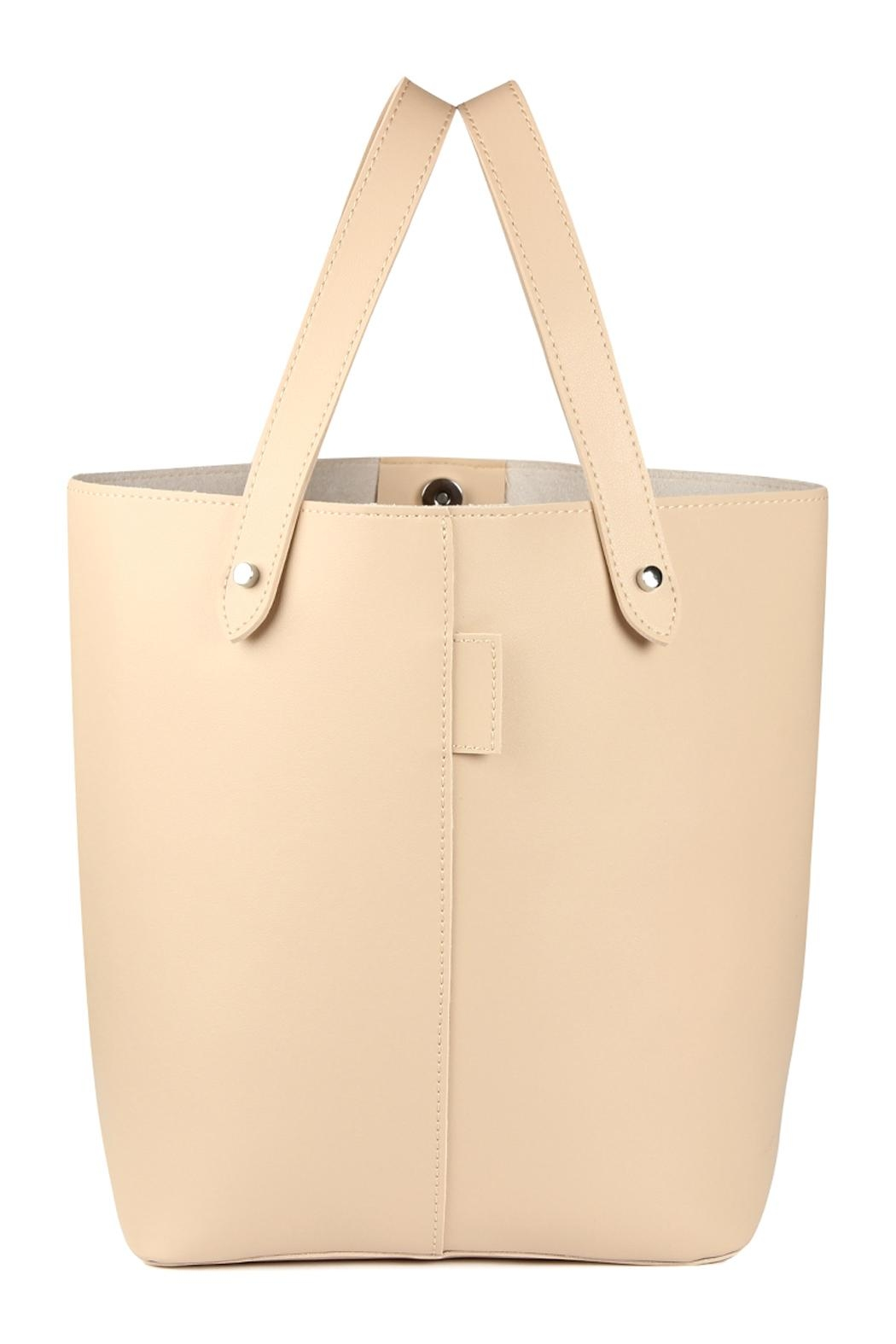 Riah Fashion 2 Way Strap Handle Tote Leather Bag With Pouch Set - Front Full Image