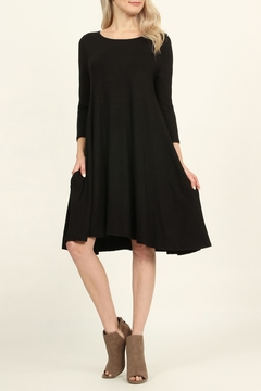 Shoptiques Product: 3/4 Sleeve Solid-Pocket-Dress