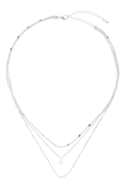 Riah Fashion 3-Layer-Mixed-Chain-Cubic-Zirconia-Necklace - Product Mini Image