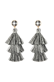 Riah Fashion 3-Layer-Tassel With Checkered-Post-Drop-Earrings - Product Mini Image