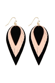Riah Fashion 3-Layers-Leather-Reverse Teardrop-Earrings - Product Mini Image
