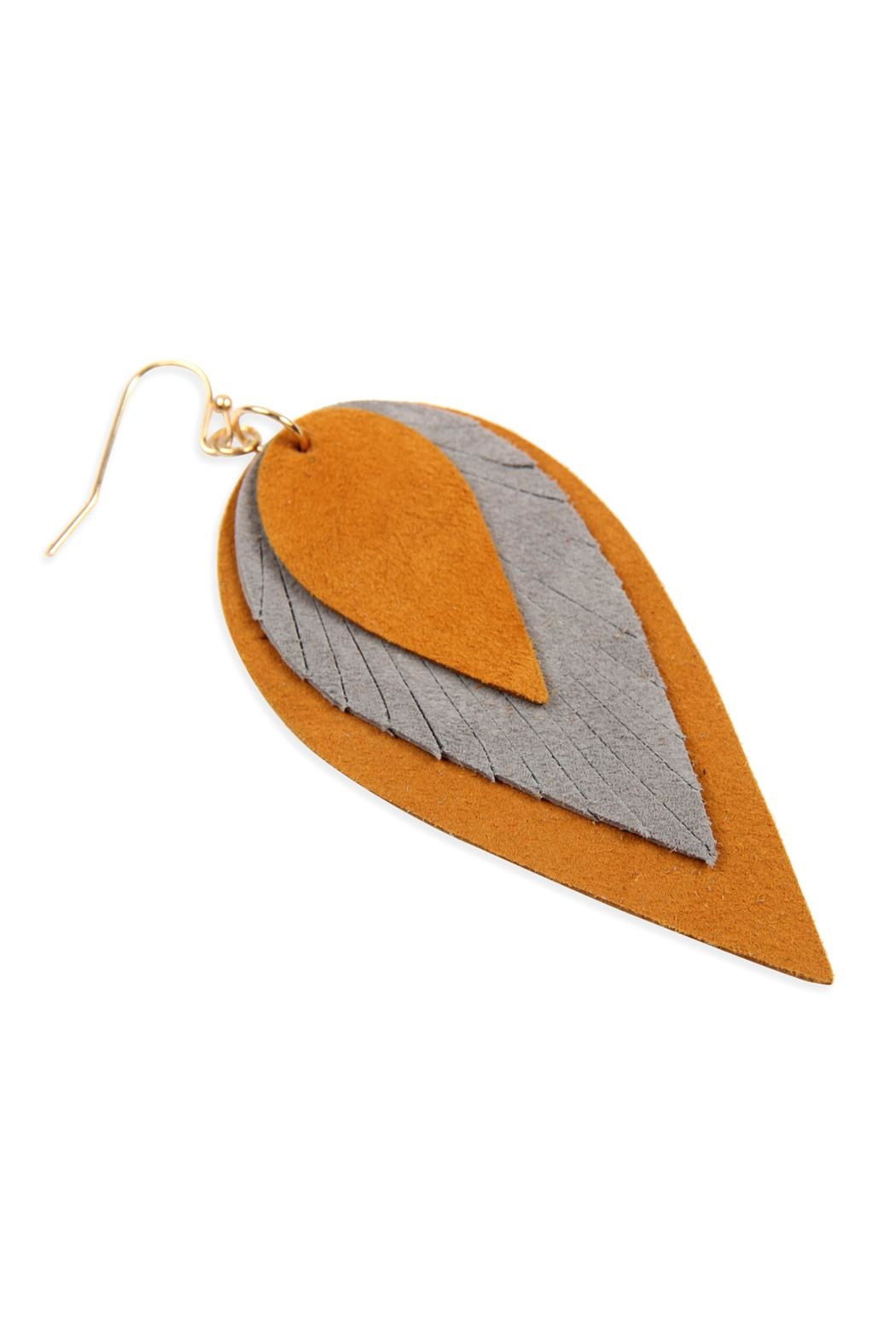 Riah Fashion 3-Layers-Leather-Reverse Teardrop-Earrings - Side Cropped Image