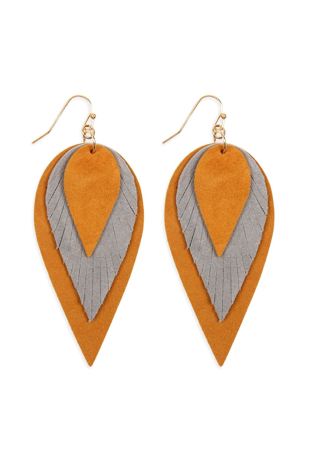 Riah Fashion 3-Layers-Leather-Reverse Teardrop-Earrings - Front Cropped Image