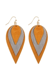 Riah Fashion 3-Layers-Leather-Reverse Teardrop-Earrings - Front cropped