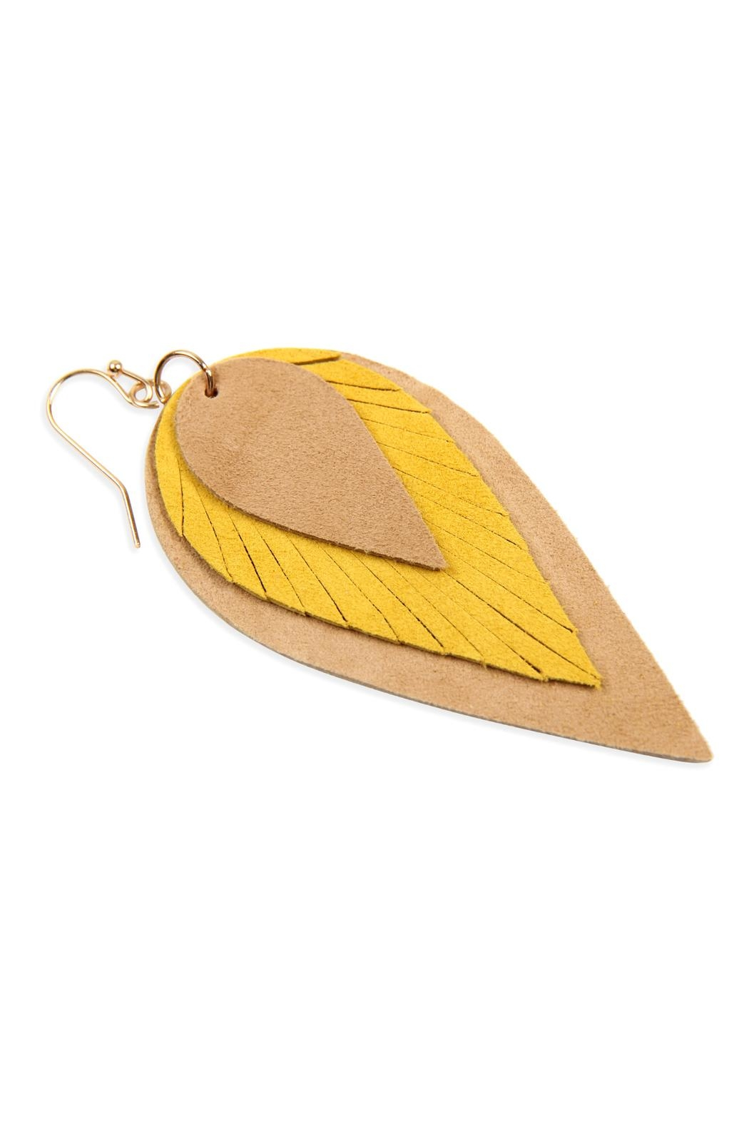 Riah Fashion 3-Layers-Leather-Reverse Teardrop-Earrings - Back Cropped Image