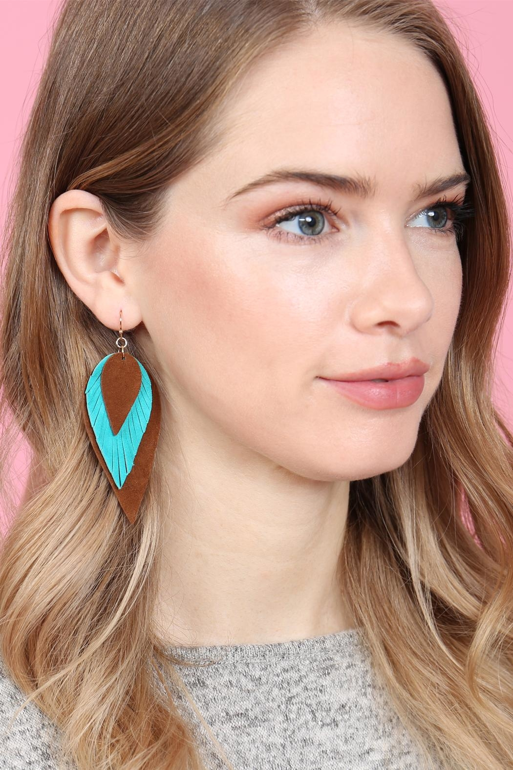 Riah Fashion 3-Layers-Leather-Reverse Teardrop-Earrings - Front Full Image